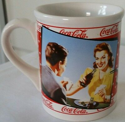 NOSTALGIC COCA-COLA HISTORIC AD REFRESHING & DELICIOUS COUPLES MUG  by ENESCO