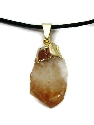Natural Raw Brazilian Citrine Point Pendant with Cord Necklace Crystal Healing