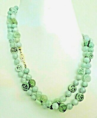 Antique Vintage Deco Chinese Jadeite Jade Beads Coin Abundance 14Kt Necklace 34""