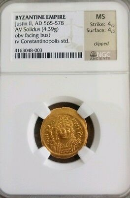 Byzantine Empire Justin II Solidus 📍 NGC MS 4/4 Ancient Gold Coin