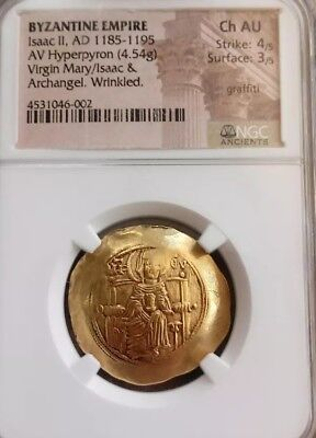 Byzantine Empire Isaac II Gold Coin NGC Choice AU 4/3 Ancient