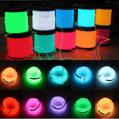 20M LED Flexible Neon Light Glow EL Strip Tube Cool Wire Rope Home Car Decor