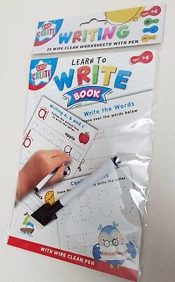 Learn To WRITE Words  Wipe Clean Work Book Learning Educational + Pen