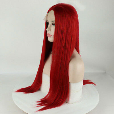 "AU 24"" GlueLess Lace Front Wig Synthetic Fiber Hair Silky Straight Fashion Red"