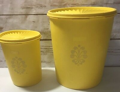 Vintage Tupperware Two Yellow Canisters with Lids 805-7 811-4