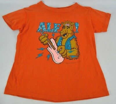 Vintage ALF Rock Band T Shirt 1987 Orange Kids Childrens NO SIZE TAG M/L Orange