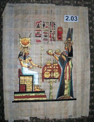 Egyptian Papyrus *Nefertiti in front of Isis. * 30x40 cm * ep.A-2.3
