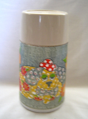 Vintage Alladin Patchwork Puppy Dog and Flowers Thermos Plastic