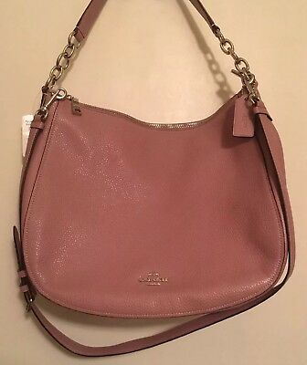 d72ba6384310 Authentic COACH F31399 Leather Elle Hobo Shoulder Bag Purse Dusty Rose Pink