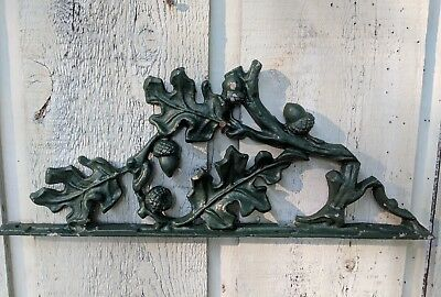 "Vintage Wrought Iron Architectural Piece Oak Leaves & Acorns 17 3/4"" x 7"""
