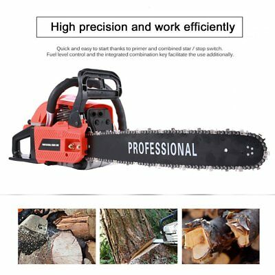 """Heavy Duty 20"""" 62cc Petrol Chainsaw Saw Cutter With Wrench 2.3kw Two-Stroke"""