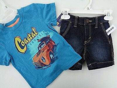 NEW! Lot of 2 Old Navy Shorts & Cherokee T-shirt Boys size 12 - 18 M Toddler Bab