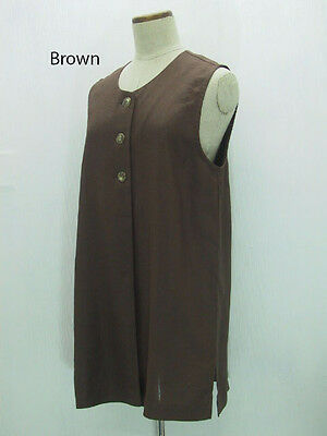 8f3ce691766 Women Pure Linen Flax Aline Sleeveless Long Tunic Tank Top Blouse Shirt S M  L XL