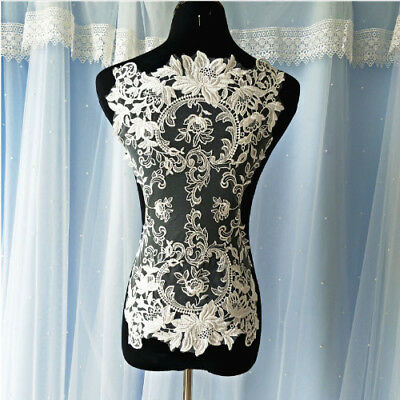 1Pcs Soft Big Cotton Embroidery Ivory Lace Applique For Bridal Wedding Dress