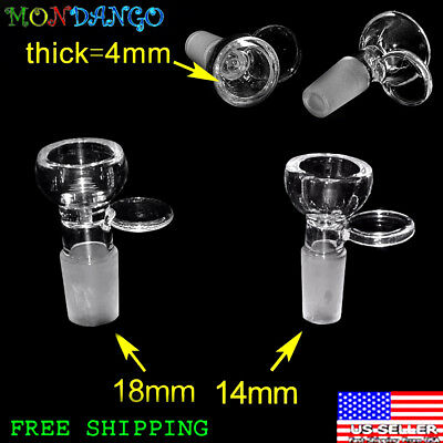 4mm Thick Clear Slide Male Glass Bowl Tab Handle Dome Type Bowl 14mm / 18mm
