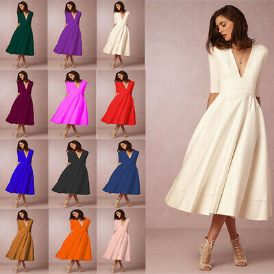 Plus Size Womens Vintage Long Prom Cocktail Evening Party Swing Dress Ball Gown