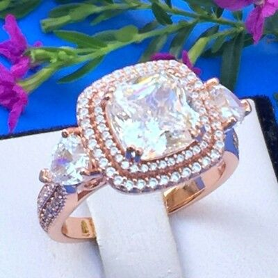 Rose gold plated silver double halo cushion simulated diamond engagement ring