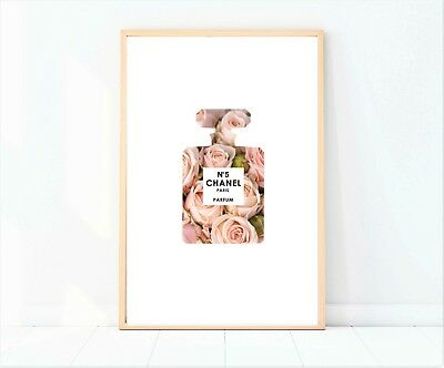 coco chanel perfume rose pink bottle artwork print poster