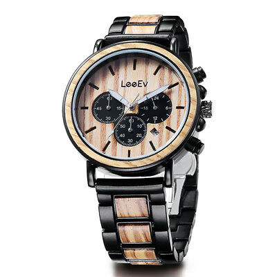 LEEEV Wooden Watches for Men Relogio Masculino Mens Wood Steel Watch Chronograph