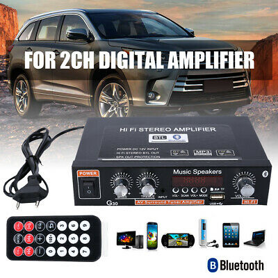 12V/220V 2CH Channel Mini Bluetooth HiFi Audio Stereo Power Amplifier Bass FM