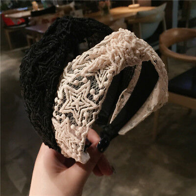 Ladies Lace Headband Wide Hairband Knotted Head Band Hair Accessories Head Wrap