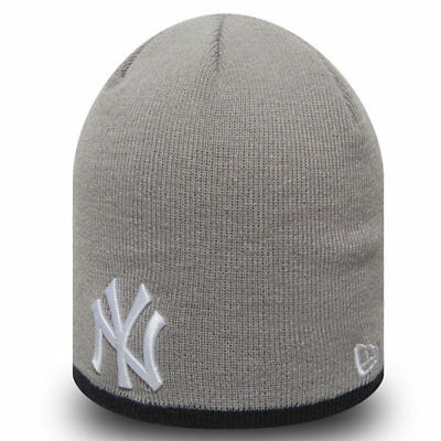 Cappello invernale New Era MLB New York Yankees Essential Skull Knit Grey 35086d1ee540