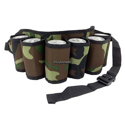 Outdoor Hiking Beer Can Belt Camouflage Straps Holds 6 Cans of Beverages EHE8 01