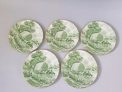 H M Sutherland China Rural Scenes green side plates x 5