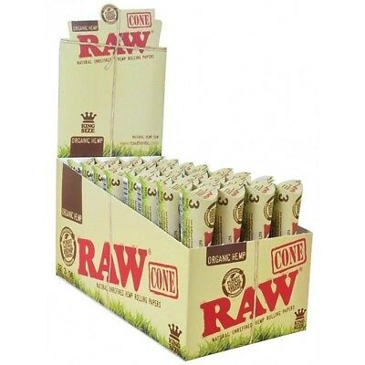 RAW® 6 Packs Of 3 Pcs = 18 Pcs Organic King Size Pre Rolled Cones Rolling Paper