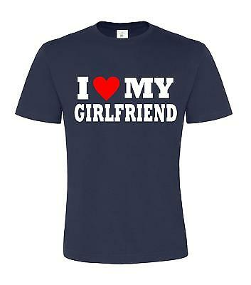 I LOVE MY GIRLFRIEND' with red heart Navy Mens t-shirt
