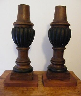 A Pair Of Large Reclaimed Carved Wood Wall Lights Lamp Base Brackets