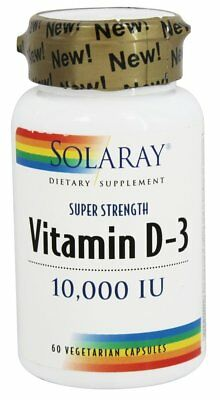 Solaray - Vitamin D3 Super Strength 10000 IU - 60 Vegetarian Capsules