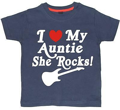 Navy t-shirt with white print and red heart 'I LOVE MY AUNTIE SHE ROCKS!'