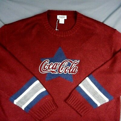 COCA-COLA Ware KNIT SWEATER Crew neck , Men's Size Large,Wool Blend,Red