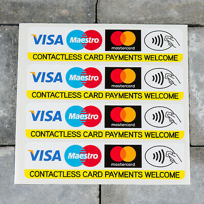 4 x Contactless Credit Debit Card VISA Mastercard Maestro Payments Stickers