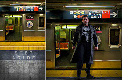 Poster Backdrop Diorama~Punisher~Subway For 1/6 Hot Toys Figures Daredevil Tms04