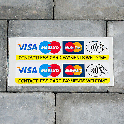 2 x Contactless Debit Credit Card VISA Mastercard Maestro Payments Stickers