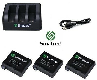 Smatree Battery Set Kit with USB Charger for GoPro HERO 5 6 & 7 Go Pro 2018