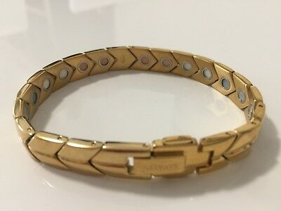Magnetic Bracelet Gold Plated Quality Stainless Steel FIR -ve Ions Ger