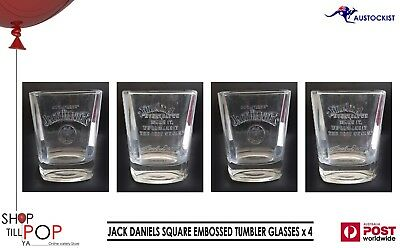 JACK DANIELS WHISKEY 4 x THICK SET EMBOSSED TUMBLER GLASSES BNWOB MAN CAVE USA