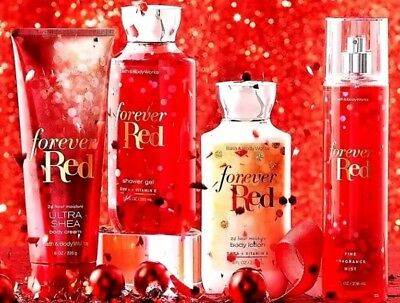 Bath and Body Works FOREVER RED Fragrance Mist Spray Cream Lotion Shower Gel X4