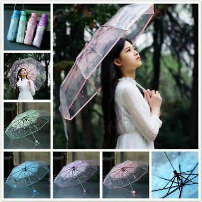 Clear Umbrella Transparent folding Flower Bubble Shape Half Automatic Umbrella