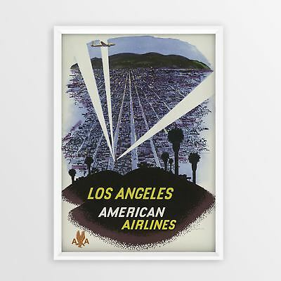 Los Angeles, American Airlines Vintage Travel Poster Tourism old Retro Print