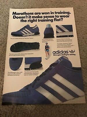 Vintage 1980 ADIDAS MARATHON TRAINER Running Shoes Poster Print Ad RARE