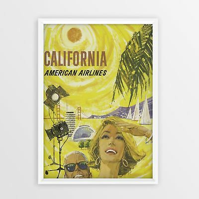 California American Airlines Vintage Travel Poster Tourism old Retro Print