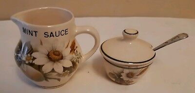 Brixham Pottery Ltd Devon ~ Small Mint Sauce Jug + Lidded Mustard Pot With Spoon
