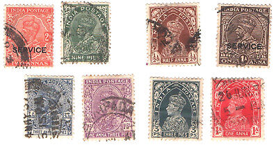 INDIA 1932 to 1937 KING GEORGE V ( Includes 2 service Overprints)  x 8 stamps