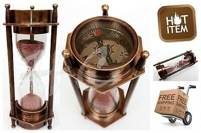 Authentic Vintage Style Brass Maritime Sand Hourglass Compass Nautical Retro