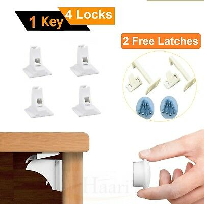 4 Invisible Magnetic Baby Child Pet Proof Cupboard Door Safety Lock+2 FREE Latch