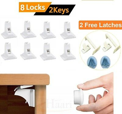 8 Invisible Magnetic Baby Child Pet Proof Cupboard Door Safety Lock+2 FREE Latch
